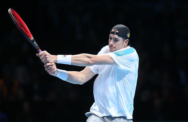 John Isner of the United States during his singles round robin match against Novak Djokovic of Serbia<br /> <br /> Photographer Rob Newell/CameraSport<br /> <br /> International Tennis - Nitto ATP World Tour Finals Day 2 - O2 Arena - London - Sunday 12th November 2018<br /> <br /> World Copyright © 2018 CameraSport. All rights reserved. 43 Linden Ave. Countesthorpe. Leicester. England. LE8 5PG - Tel: +44 (0) 116 277 4147 - admin@camerasport.com - www.camerasport.com