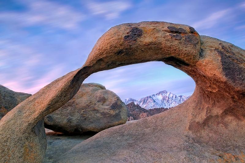 Arch in Alabama Hills framing Lone Pine Peak. California