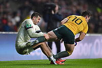 Jonny May of England tackles Bernard Foley of Australia. Old Mutual Wealth Series International match between England and Australia on November 18, 2017 at Twickenham Stadium in London, England. Photo by: Patrick Khachfe / Onside Images