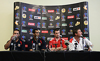 PICTURE BY VAUGHN RIDLEY/SWPIX.COM - Rugby League - Rugby League World Cup 2008 - England/Papua New Guinea Press Conference - Council Chambers, Townsville, Australia - 23/10/08...Copyright - Simon Wilkinson - 07811267706...PNG's Coach Adrian Lam, Captain John Wilshere, England's Captain Jamie Peacock and Coach Tony Smith speak to the media at a pre-match press conference.