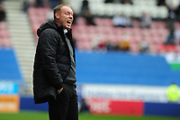 Steve Cooper Head Coach of Swansea City shouts instructions to his team from the dug-out during the Sky Bet Championship match between Wigan Athletic and Swansea City at The DW Stadium in Wigan, England, UK. Saturday 2 November 2019
