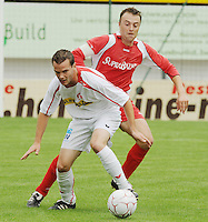 FC Gullegem - KSV Moorsele..duel tussen Stijn Dewulf (rechts) en Christophe Cottyn (linksvoor)..foto VDB / BART VANDENBROUCKE