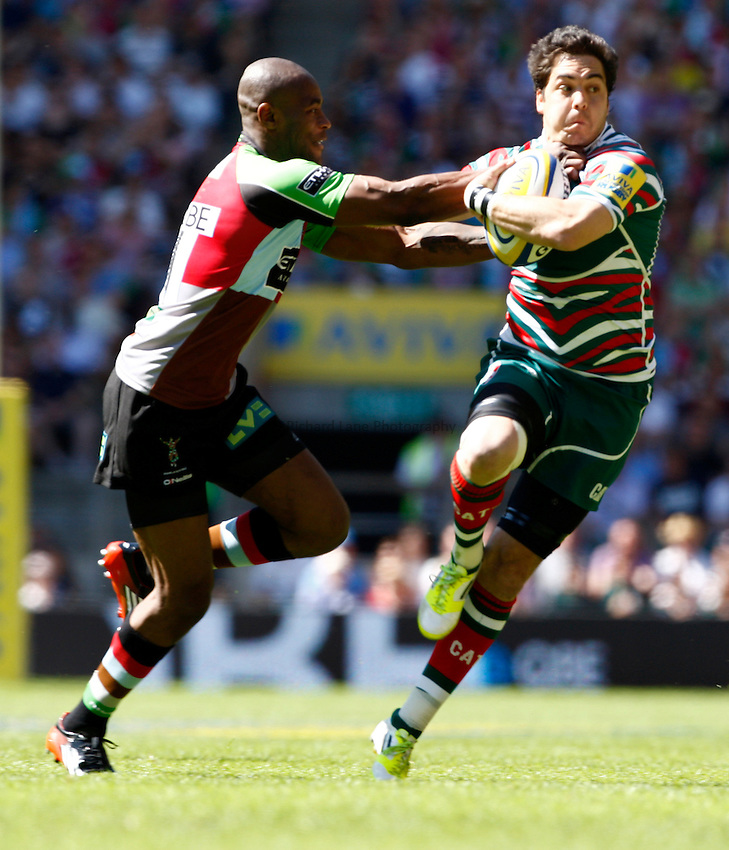 Photo: Richard Lane/Richard Lane Photography. Harlequins v Leicester Tigers. Aviva Premiership Final. 26/05/2012. Tigers' Anthony Allen is tackled by Quins' Ugo Monye.