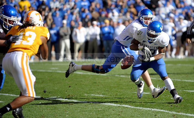Kentucky Wildcats running back Derrick Locke fumbles the ball into the end zone during the first half of the University of Kentucky's game against Tennessee at Neyland Stadium in Knoxville, Tn., on 11/27/10. UK lost the game 24-14. Photo by Mike Weaver | Staff