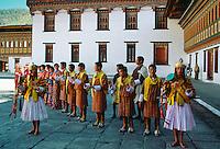 Musicians at festival at|Tashichho Dzong,Thimpu, Bhutan