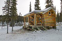 Windy gap cabin, White Mountains National Recreation Area north of Fairbanks, Alaska