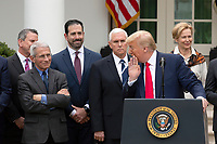 United States President Donald J. Trump whispers to Anthony Fauci, Director of the National Institute of Allergy and Infectious Diseases, after a reporter mispronounced his name during a news conference in the Rose Garden at the White House in Washington D.C., U.S., on Friday, March 13, 2020.  Trump announced that he will be declaring a national emergency in response to the Coronavirus.  Credit: Stefani Reynolds / CNP/AdMedia