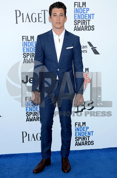 SANTA MONICA, 25.02.20-17 - SPIRIT-AWARDS - Miles Telle durante Film Independent Spirit Awards em Santa Monica na California nos Estados Unidos (Foto: Gilbert Flores/Brazil Photo Press)