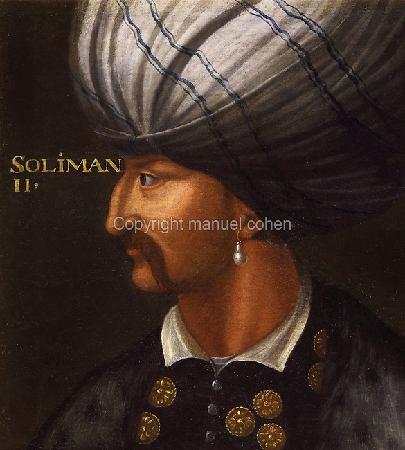 "Portrait of Suleiman I, 1494-1566, known as Suleiman the Magnificent (the mention ""II"" could be a mistake by the painter or by the restorer) Galerie des Illustres or Gallery of Portraits, early 17th century, in the Chateau de Beauregard, a Renaissance chateau in the Loire Valley, built c. 1545 under Jean du Thiers and further developed after 1617 by Paul Ardier, Comptroller of Wars and Treasurer, in Cellettes, Loir-et-Cher, Centre, France. The Gallery of Portraits is a 26m long room with lapis lazuli ceiling, Delftware tiled floor and decorated with 327 portraits of important European figures living 1328-1643, in the times of Henri III, Henri IV and Louis XIII. The chateau is listed as a historic monument. Picture by Manuel Cohen"
