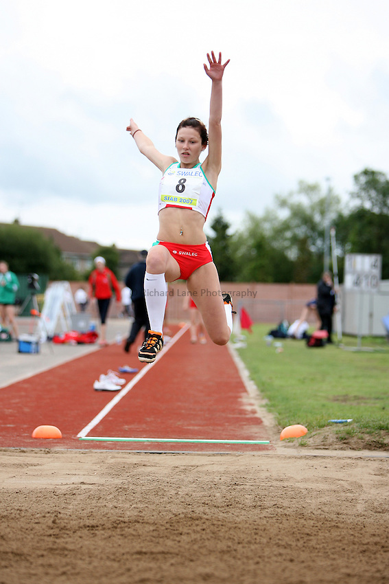 Photo: Rich Eaton...Schools International Athletic Board, Track & Field International Match, Newport. 21/07/2007. Rhiannon Yates of Wales competes in the girls long jump.