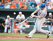 New York Mets second baseman Daniel Murphy (28) connects for a first inning home run against the Baltimore Orioles at Oriole Park at Camden Yards in Baltimore, Maryland on Wednesday, August 19, 2015.  The Orioles won the game 5 - 4.<br /> Credit: Ron Sachs / CNP<br /> (RESTRICTION: NO New York or New Jersey Newspapers or newspapers within a 75 mile radius of New York City)