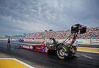 Aug. 19, 2011; Brainerd, MN, USA: NHRA top fuel dragster driver Scott Palmer during qualifying for the Lucas Oil Nationals at Brainerd International Raceway. Mandatory Credit: Mark J. Rebilas-