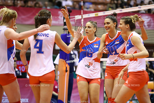 Serbia team group (SRB), <br /> JULY 16, 2017 - Volleyball : FIVB Volleyball World Grand Prix SENDAI 2017 match between <br /> Serbia 3-1 Thailand <br /> at Kamei Arena Sendai, in Sendai, Japan. <br /> (Photo by Sho Tamura/AFLO)