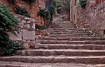 Croatia, Lastovo Island, Lastovo, Dalmatian Islands, Adriatic Sea, Hill town, Stone steps,  Europe,.