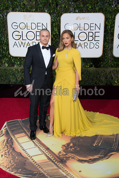 Casper Smart and Jennifer Lopez, presenter, arrive at the 73rd Annual Golden Globe Awards at the Beverly Hilton in Beverly Hills, CA on Sunday, January 10, 2016. Photo Credit: HFPA/AdMedia
