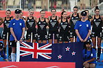 National Anthem during the Pro League Hockey match between the Blacksticks women and Great Britain, National Hockey Arena, Auckland, New Zealand, Saturday 8 February 2020. Photo: Simon Watts/www.bwmedia.co.nz