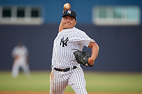 GCL Yankees East pitcher Luis Ojeda (47) during a Gulf Coast League game against the GCL Phillies East on July 31, 2019 at Yankees Minor League Complex in Tampa, Florida.  GCL Phillies East defeated the GCL Yankees East 4-3 in the second game of a doubleheader.  (Mike Janes/Four Seam Images)