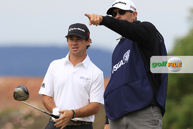 Brian HARMAN (USA) and caddy Scott Tway on the 18th tee during Thursday's Round 1 of the 2015 U.S. Open 115th National Championship held at Chambers Bay, Seattle, Washington, USA. 6/18/2015.<br /> Picture: Golffile | Eoin Clarke<br /> <br /> <br /> <br /> <br /> All photo usage must carry mandatory copyright credit (&copy; Golffile | Eoin Clarke)