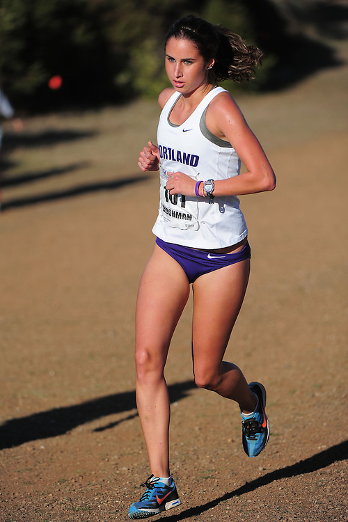 October 29, 2011; Belmont, CA, USA; Portland Pilots runner Maddie Hibshman (101) competes during the WCC Cross Country Championships at Crystal Springs.