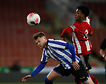 "Ta""Shae Andall-Gibbons of Sheffield Utd and Liam Waldock of Sheffield Wednesday during the Professional Development League match at Bramall Lane, Sheffield. Picture date: 26th November 2019. Picture credit should read: Simon Bellis/Sportimage"