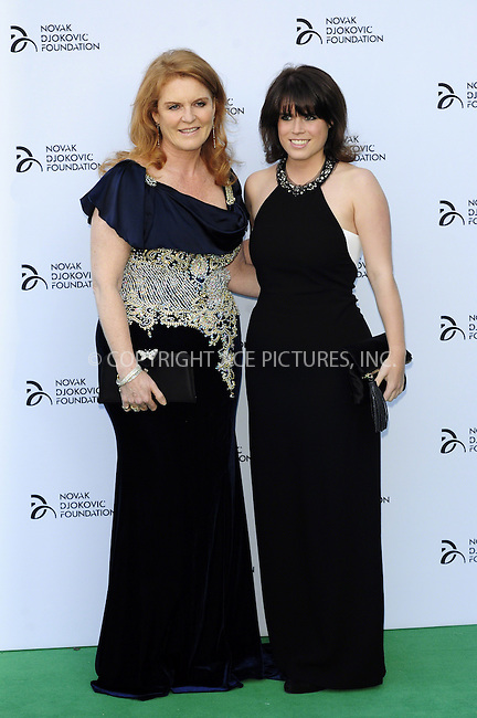 WWW.ACEPIXS.COM<br /> <br /> US Sales Only<br /> <br /> July 8 2013, London<br /> <br /> Sarah, Duchess of York and Princess Eugenie of York at the Novak Djokovic Foundation Gala Dinner at The Roundhouse on July 8 2013 in London<br /> <br /> By Line: Famous/ACE Pictures<br /> <br /> <br /> ACE Pictures, Inc.<br /> tel: 646 769 0430<br /> Email: info@acepixs.com<br /> www.acepixs.com