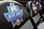 SIOUX FALLS, SD - MARCH 24: The 2018 Division II Elite Eight logo appears on a chairs during the Division II Men's Basketball Championship held at the Sanford Pentagon on March 24, 2018 in Sioux Falls, South Dakota. Ferris State University defeated Northern State University 71-69. (Photo by Tim Nwachukwu/NCAA Photos via Getty Images)