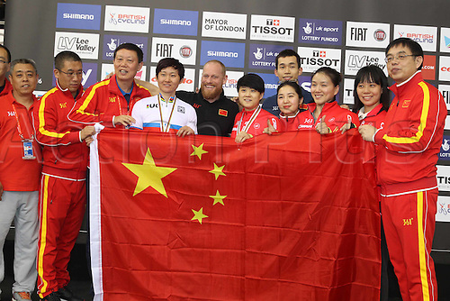06.03.2016. Lee Valley Velo Centre, London England. UCI Track Cycling World Championships Womens Sprint final. ZHONG Tianshi and JUNHONG Lin (CHI) on the winners podium with support team