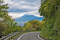 Road to Mt. Fuji.  It was tough to find a parking spot of this reveal of the mountain, but finding one was a must. This is the route from Heda Port to Numazu.