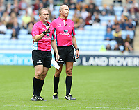 Referee Ian Tempestand (left) and Assistant referee Jonathan Healy watch the video replay before showing a red card to Leicester Tigers' Will Spencer <br /> <br /> Photographer Stephen White/CameraSport<br /> <br /> Gallagher Premiership - Wasps v Leicester Tigers - Sunday 16th September 2018 - Ricoh Arena - Coventry<br /> <br /> World Copyright &copy; 2018 CameraSport. All rights reserved. 43 Linden Ave. Countesthorpe. Leicester. England. LE8 5PG - Tel: +44 (0) 116 277 4147 - admin@camerasport.com - www.camerasport.com