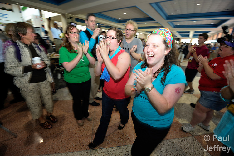A dance mob led by Kara Crawford (right) calls attention to the church's stance on sexuality during the 2012 United Methodist General Conference in Tampa, Florida. Crawford is a United Methodist mission intern in Colombia.