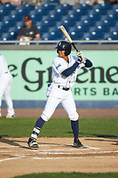 Blake Perkins (22) of the Wilmington Blue Rocks at bat against the Fayetteville Woodpeckers at Frawley Stadium on June 6, 2019 in Wilmington, Delaware. The Woodpeckers defeated the Blue Rocks 8-1. (Brian Westerholt/Four Seam Images)