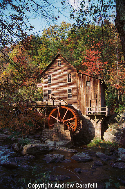 Morning sun lights up Glade Creek Mill in Babcock State Park, West Virginia.