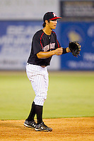Shortstop Tyler Saladino #1 of the Kannapolis Intimidators on defense against the Lakewood BlueClaws at Fieldcrest Cannon Stadium July 14, 2010, in Kannapolis, North Carolina.  Photo by Brian Westerholt / Four Seam Images