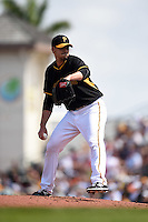 Pittsburgh Pirates pitcher Charlie Morton (50) during a Spring Training game against the New York Yankees on March 5, 2015 at McKechnie Field in Bradenton, Florida.  New York defeated Pittsburgh 2-1.  (Mike Janes/Four Seam Images)