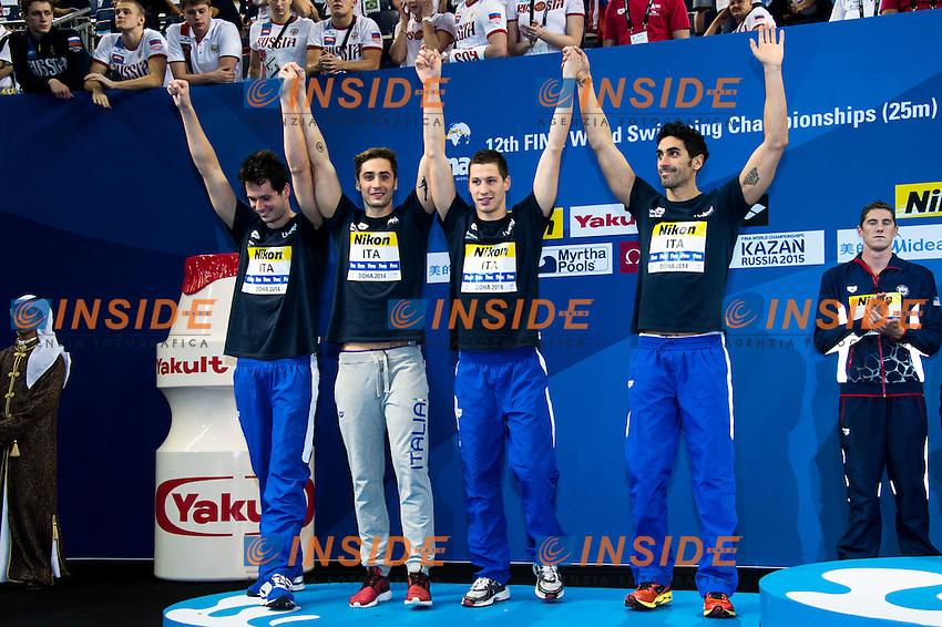 Team ITALY Silver Medal<br /> Men's 4x200m Freestyle<br /> Doha Qatar 04-12-2014 Hamad Aquatic Centre, 12th FINA World Swimming Championships (25m). Nuoto Campionati mondiali di nuoto in vasca corta.<br /> Photo Giorgio Scala/Deepbluemedia/Insidefoto