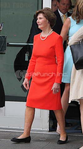 NEW YORK, NY - MAY 11:  Former U.S. First Lady Laura Bush, wife of Former U.S. President George W. Bush, spotted leaving 'FOX and Friends' where she and daughter Jenna Bush Hager promoted their book 'Our Great Big Backyard' in New York, New York on May 11, 2016.  Photo Credit: Rainmaker Photo/MediaPunch