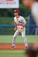 Palm Beach Cardinals shortstop Kramer Robertson (3) during a game against the Charlotte Stone Crabs on April 20, 2018 at Charlotte Sports Park in Port Charlotte, Florida.  Charlotte defeated Palm Beach 4-3.  (Mike Janes/Four Seam Images)