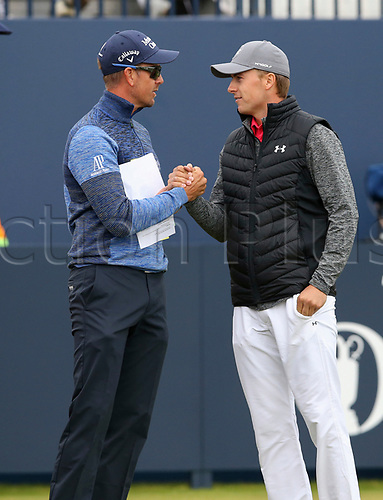 20th July 2017, Royal Birkdale Golf Club, Southport, England; The 146th Open Golf Championship ; First round ; Defending Champion Henrik Stenson (SWE) shakes hands with Jordan Spieth (USA) on the first tee