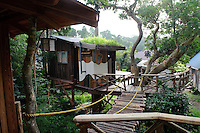 Tree house accommodation at Brown's Field, Isumi, Chiba Prefecture, Japan, August 9, 2009.The organic farm introduces healthy and sustainable living in the Japanese countryside. It is staffed by the Brown family and volunteers from around the world.