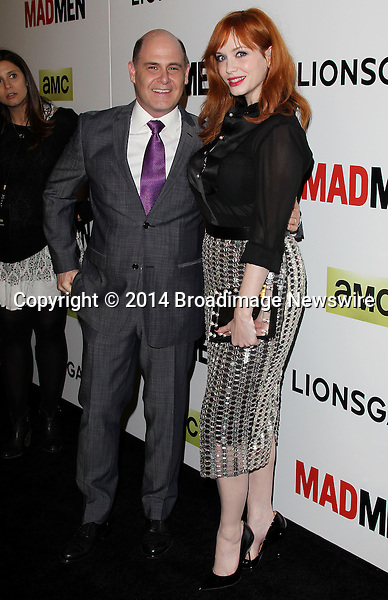 Pictured: Matthew Weiner, Christina Hendricks<br /> Mandatory Credit &copy; Frederick Taylor/Broadimage<br /> &quot;Mad Men&quot; Season 7 Premiere <br /> <br /> 4/2/14, Hollywood, California, United States of America<br /> <br /> Broadimage Newswire<br /> Los Angeles 1+  (310) 301-1027<br /> New York      1+  (646) 827-9134<br /> sales@broadimage.com<br /> http://www.broadimage.com