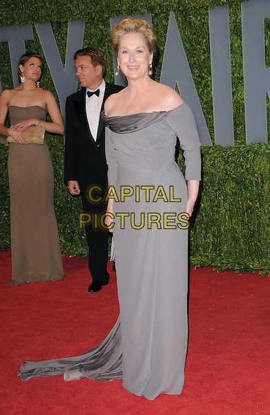 MERYL STREEP.The 2009 Vanity Fair Oscar Party held at The Sunset Tower Hotel in West Hollywood, California, USA..February 22nd, 2009.oscars full length long maxi dress grey gray off the shoulder .CAP/DVS.©Debbie VanStory/Capital Pictures.