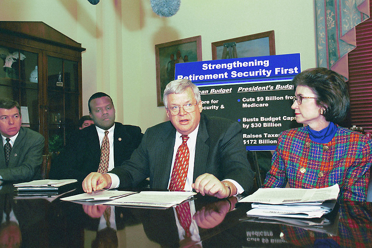 3-23-99.GOP PRESS CONFERENCE-- John Ashcroft, R-Mo., J.C. Watts Jr., R-Okla., Speaker of the House J. Dennis Hastert, R-Ill., and Tillie Fowler, R-Fla., meet the press druing a photo op in the speakers office..CONGRESSIONAL QUARTERLY PHOTO BY DOUGLAS GRAHAM.