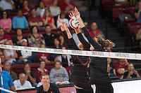 STANFORD, CA - September 9, 2016: Audriana Fitzmorris, Ivana Vanjak at Maples Pavilion. The Purdue Boilermakers defeated the Stanford Cardinal 3 - 2.