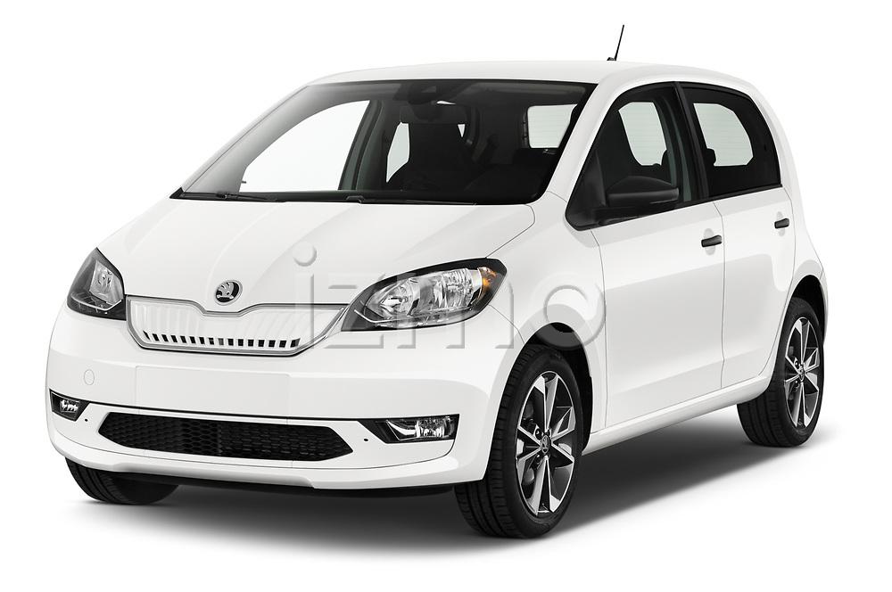 2020 Skoda Citigo e iV Ambition 5 Door Hatchback angular front stock photos of front three quarter view
