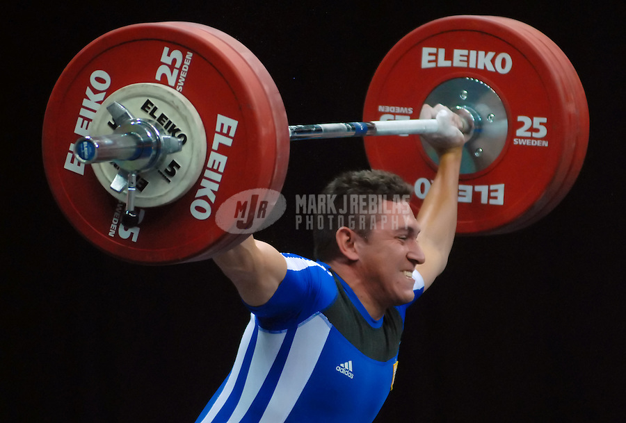 Jul 16, 2007; Rio de Janeiro, Brazil; Victor Viquez (PAN) during the 77 kg Weightlifting Final in the Pan American Games at the Rio Centro Pavilion in Rio de Janeiro. Mandatory Credit: Mark J. Rebilas-US PRESSWIRE Copyright © 2007 Mark J. Rebilas