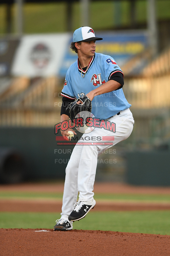Hickory Crawdads starting pitcher Ricky Vanasco (13)delivers a pitch during game one of the Northern Division, South Atlantic League Playoffs against the Delmarva Shorebirds at L.P. Frans Stadium on September 4, 2019 in Hickory, North Carolina. The Crawdads defeated the Shorebirds 4-3 to take a 1-0 lead in the series. (Tracy Proffitt/Four Seam Images)