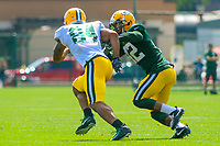 Green Bay Packers tight end Lance Kendricks (84) and safety Morgan Burnett (42) during a training camp practice on August 15, 2017 at Ray Nitschke Field in Green Bay, Wisconsin.   (Brad Krause/Krause Sports Photography)