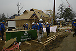 Day 4 Feb 1,2007 work begins on the roof for the Jones's new home being built by Shoemaker Homes and Extreme MakeOver Home Edition in Brandon, Mississippi.(Photo/© Suzi Altman)