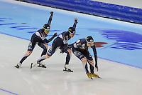 SCHAATSEN: HEERENVEEN: IJsstadion Thialf, 18-11-2012, Essent ISU World Cup, Season 2012-2013, Ladies Team Pursuit, Do-Yeong Park, Bo-Reum Kim, Seon-Yeong Noh(KOR), ©foto Martin de Jong