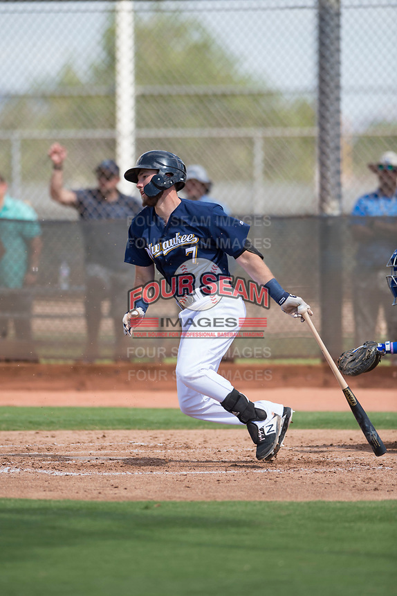 Milwaukee Brewers first baseman David Fry (7) follows through on his swing during an Instructional League game against the Los Angeles Dodgers at Maryvale Baseball Park on September 24, 2018 in Phoenix, Arizona. (Zachary Lucy/Four Seam Images)
